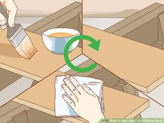 How to Age Wood with Baking Soda. If you want to give new wood a distressed or aged look, you don't have to leave it outside for years to weather naturally. One of the simplest ways to age wood quickly is to apply a paste of baking soda. Leather Diy Crafts, Leather Craft, Cedar Boards, Aging Wood, Red Oak, Baking Soda, Woodworking, Simple, Pictures