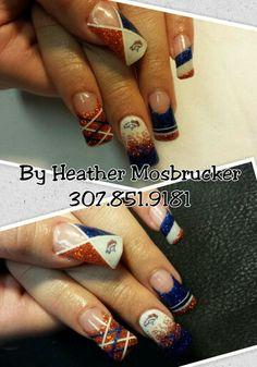 Denver Bronco Gel Nails Blue&Orange Hallographic Nails, Blue Nails, Coffin Nails, Denver Broncos Nails, Football Nail Art, Caviar Nails, Nail Mania, Pink One Piece, Green Glitter