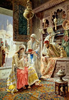 'The Carpet Merchant', 1901 Painting by Ettore Simonetti, Italian, 1857 - 1909