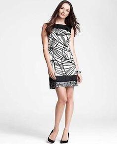 ANN TAYLOR black white Graphic Sketch Sleeveless boatneck sheath Dress sz 6 NWOT