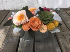 handmade felt flower & succulent arrangement in hammered aluminum flower box…