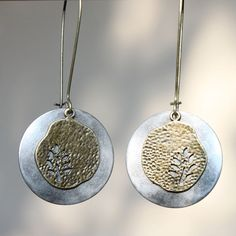 Mixed Metal Earrings Silver Brass Earrings Dangle Earrings Boho Jewelry Long Earrings