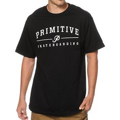 A white Primitive Skateboarding text and P logo graphic screen printed at the chest provides a clean and classic look.