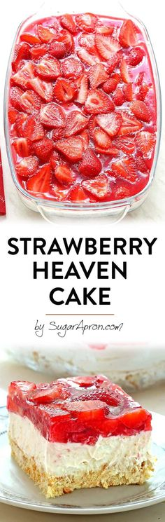 Bake Strawberry Heaven Cake a quick and easy dessert that you can take on your next picnic or to your family reunion or BBQ.a quick and easy dessert that you can take on your next picnic or to your family reunion or BBQ. Easy Desserts, Delicious Desserts, Yummy Food, Baking Recipes, Cake Recipes, Dessert Recipes, Yummy Treats, Sweet Treats, Baked Strawberries