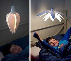 LULL lighting system - During the day, the petals will open up with light shining at full brightness, but when your tiny tots head off to bed at night, these very same petals will start to close resulting in a dimming light.