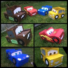 Disney Cars cardboard box car. Made these for my son birthday party. Lightning McQueen, Tow Mater, Luigi and Sally.