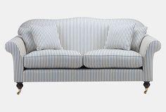 Hinton sofa in Ian Sanderson Astrid Stripe, french blue. Wesley-Barrell
