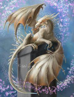 White dragon on pedestal
