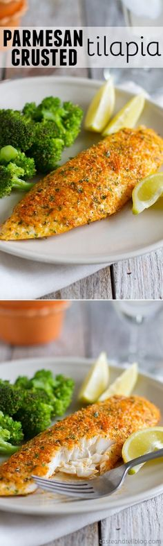 This Parmesan Crusted Tilapia is a simple fish recipe that is done in 20 minutes and will even impress non-fish lovers!: This Parmesan Crusted Tilapia is a simple fish recipe that is done in 20 minutes and will even impress non-fish lovers! Easy Fish Recipes, New Recipes, Dinner Recipes, Healthy Recipes, Paleo Dinner, Recipies, Tilapia Recipe Healthy Easy, Simple Fish Recipes, Simple Cooking Recipes
