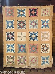 Antique vintage Patchwork Star Brown Homespun Backed 1800's Quilt TINY stitches