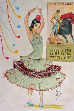 Postcard Set of 2 Vintage Matador and Flamenco by UbarDesign Spanish Dancer, Spanish Art, Dress Card, Flamenco Dancers, Chicano Art, Mexican Art, Textiles, Vintage Cards, Sewing Clothes
