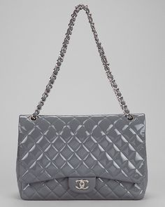 Chanel Grey Quilted Patent Maxi Flap Shoulder Bag