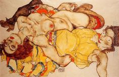 Two Girls Lying Entwined Egon Schiele Reproduction | 1st Art Gallery