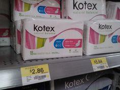 Kotex Natural Balance or U by Kotex Just $1.86 at Walmart!