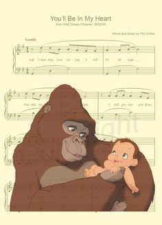 Here is a sheet music art print of Tarzan and Kala from Disneys Tarzan. This is perfect for any Tarzan/Disney fanatic or Mother! We print this on quality photo paper, which measures approximately 8.5x11, and ship it in a heavy-duty envelope to ensure it arrives intact. 11x15 Poster: