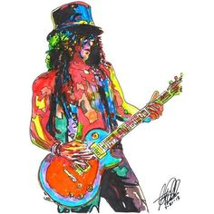 Slash, Guns N' Roses, Lead Guitar, Guitarist, Hard Rock, POSTER from... ❤ liked on Polyvore featuring home, home decor, wall art, rose wall art, photo drawing, ink drawing, rose picture and rock posters