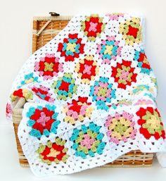 Crochet Baby Blanket - Granny Square Crochet Baby Blanket Afghan - photo prop crib stroller newborn baby blanket. $100.00, via Etsy.