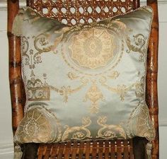 Let Them Eat Cake- Luxurious Versaille Baroque Decorative Pillow in Spa Blue and Metallic Taupe / Gold w. tassels