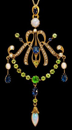 Vintage Art Nouveau Jewelry - A SuperbGemstone Gold Pendant  Russian, circa 1900