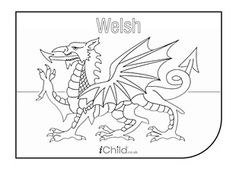 Print this magnificent Welsh dragon colouring page for kids to colour in for St David's Day or other patriotic occasions. Dragon Coloring Page, Flag Coloring Pages, Free Coloring Sheets, Wales Flag, Welsh Love Spoons, Saint David's Day, Welsh Dragon, Renaissance, Stencil Templates