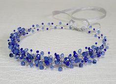 Bridal Royal Blue CrownBridal HeadpieceBlue Crystal by CyShell