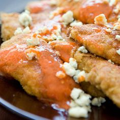 Liven up your Monday with these Buffalo Chicken Fingers | http://www.rachaelraymag.com/Recipes/rachael-ray-magazine-recipe-search/no-recipe-zone-recipes/buffalo-chicken-fingers