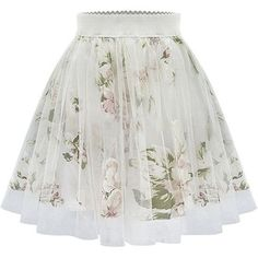 Beige Floral Print Pleated Skater Skirt ($22) ❤ liked on Polyvore featuring skirts, bottoms, saias, faldas, beige, floral skirt, flared skirt, floral knee length skirt, sheer skirt and flower print skirt