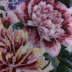 Glass bead embroidery