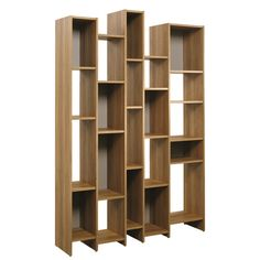 Eye-catching bookshelf showcases asymmetrical cubbies.