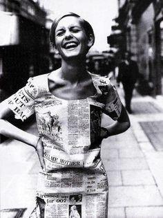 Twiggy in a paper dress in London, June 1967 #love
