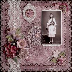 Helga at 14 ~ An elaborate lacy background highlights a vintage photo perfectly...love the plum color palette!