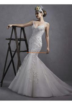 Meerjungfrau Traumhafte Schöne Brautkleider aus Organza mit Applikation