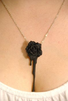 Melted Black Rose necklace