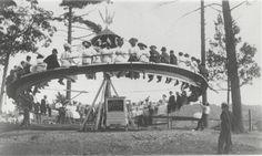 Hand powered merry-go-round in Rexford, circa 1906.