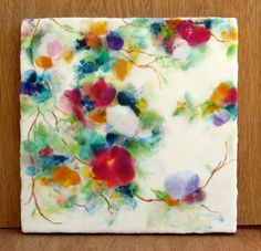 Here is an original encaustic painting featuring a beautiful floral abstract. It was painted using the encaustic method (beeswax and damar resin) and rich pigments. Several layers of encaustic wax were used to achieve the depth and richness in this piece. This painting was created on birch, cradles to a thickness of 1. It will arrive with hardware attached (wire), ready to hang. No need to frame. Painting is signed on the back. Encaustic paintings are extremely durable and archival and can…
