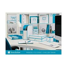 Semikolon White Classics Collection Letter Size Paper Tray, Turquoise Accents: Amazon.ca: Office Products