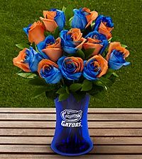 FTD presents the University of Florida Gators Rose Bouquet and gifts. Show school pride with this rose bouquet, available with an etched keepsake vase. Orange Rose Bouquet, Orange Roses, Blue Roses, University Of Florida, Auburn University, Syracuse University, Fleur Orange, Illinois Fighting Illini, Unique Roses