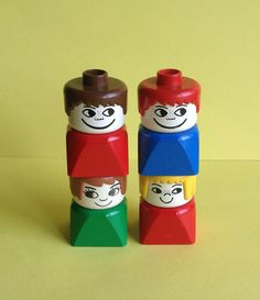 Vintage Lego Duplo figures, collectibles, 4 figurines, 2 girls, 2 boys, original, made in U.S.A., vintage toys, Greece on Etsy, 6,19 €