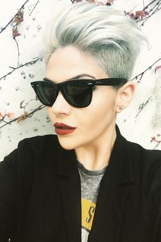 Platinum Swept-Back Undercut #shorthaircut #pixiehair ★ An undercut for women is a great way to upgrade their look no matter whether they prefer long hair or short haircuts. It's extremely versatile and has a multitude of design options, from simple side cuts to hidden nape shaved hairstyles, the trendiest of which you can find here.  #glaminati #lifestyle  #undercutwomen