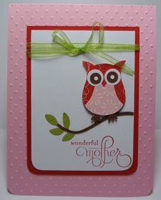 Owl Card for Mothers Day or Birthday Stampin Up Handmade