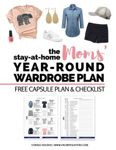 Free guide on how to build a wardrobe! The best clothes for on-the-go mom-friendly The checklist includes a wardrobe plan step by step on how to put together a capsule shopping checklist & outfits. List of # Capsule Wardrobe Mom, Mom Wardrobe, Build A Wardrobe, Wardrobe Staples, Summer Wardrobe, Winter Wardrobe, Capsule Clothing, Corner Wardrobe, Black Wardrobe