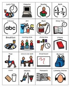 This is a set of picture symbols to be used with a visual schedule. The icons are geared toward younger children but can be used with older children depending on their developmental/cognitive level. Autism Teaching, Autism Activities, Autism Resources, Autism Classroom, Teaching Activities, Future Classroom, Teaching Resources, Visual Schedules, Visual Schedule Autism