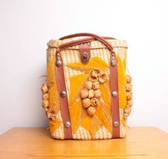 Vintage Woven Wicker Picnic Basket or Beach Tote w/ Yellow Yarn Embroidery