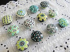 Hand Painted Custom Gray Teal Black Dresser Knobs, Painted Drawer Pulls  (ea)