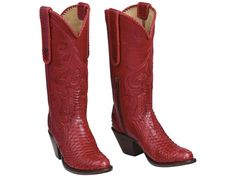 Womens Luchesse Equestrian Boots |    Python boots for women |  Unmissable in ruby red or jet black, Kirby is a higher-heeled alternative for the woman looking to blend fashion with tradition. The boot features Lucchese's signature hardware and an inside zip for a flattering, feminine fit.