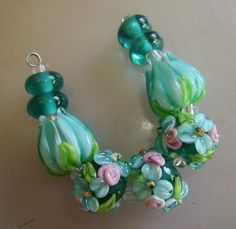 BLISS Teal Wild Blossoms and Rosebuds with Tulips Lampwork Bead Set | blissfulgardenbeads - Jewelry on ArtFire