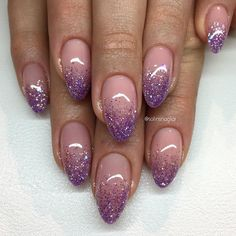 Cute, don't like the shape tho glitter fade nails, faded nails, lilac Purple Glitter Nails, Pink Nails, My Nails, Black Glitter, Cute Spring Nails, Cute Nails, Pretty Nails, Colourful Acrylic Nails, Faded Nails