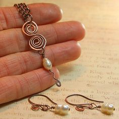 Swirls and Pearls Collection Necklace  by AllowingArtDesigns, $22.00