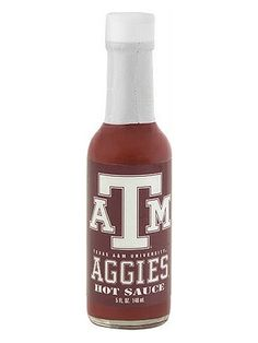Texas A & M Aggies Hot Sauce is an all-purpose, all-natural cayenne pepper sauce officially licensed by Texas A & M University. Perfect for tailgating, gift-giving, gameday parties, etc. Buy on sale for $6.45 here: http://www.carolinasauces.com/Texas_A_M_Aggies_p/1834tam.htm
