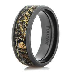 Menu0027s Black Zirconium Realtree Max 4 Camo Ring